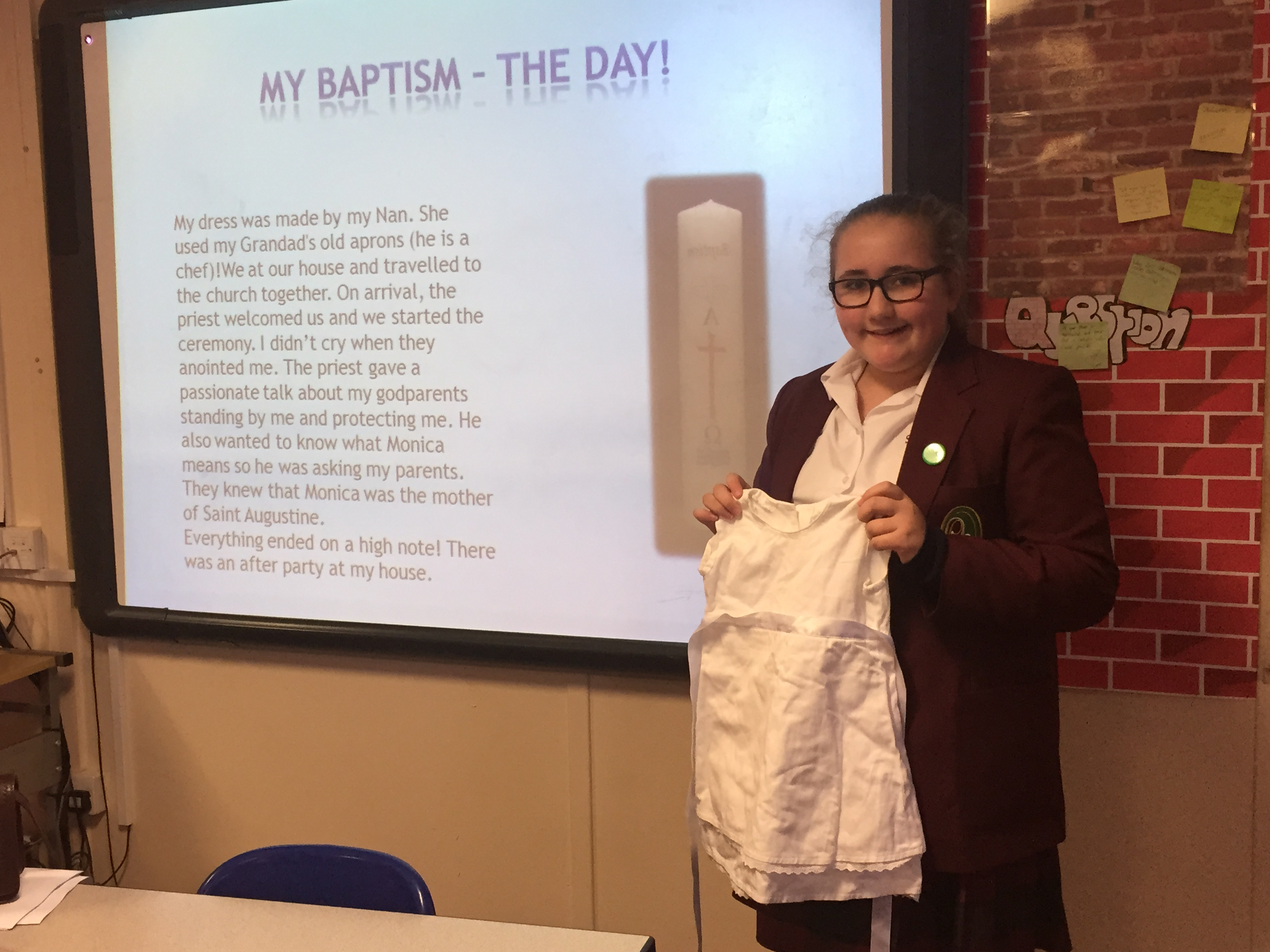 Year 7 learn about the Sacrament of Baptism.