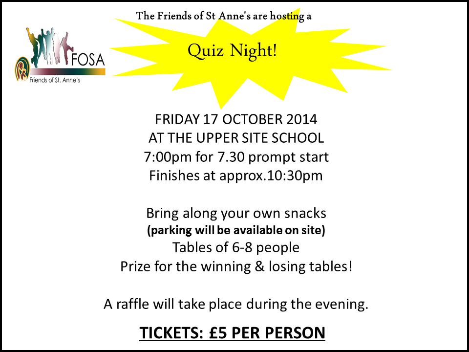 Quiz Evening Friday 17th October 2014 7.00pm for 7.30pm prompt start